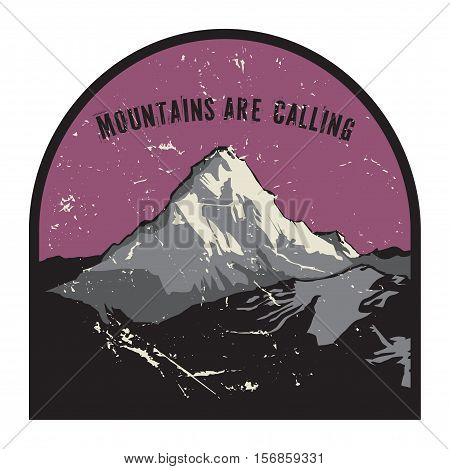 Mountains badge or emblem. Adventure outdoor expedition mountain badge climbing mountain snowy peak mountain label with text Mountains are Calling vector illustration