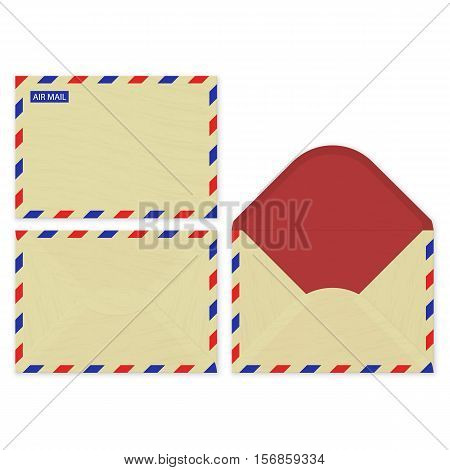 Craft paper set open, front and rear surface of the air mail envelops. Vector illustration