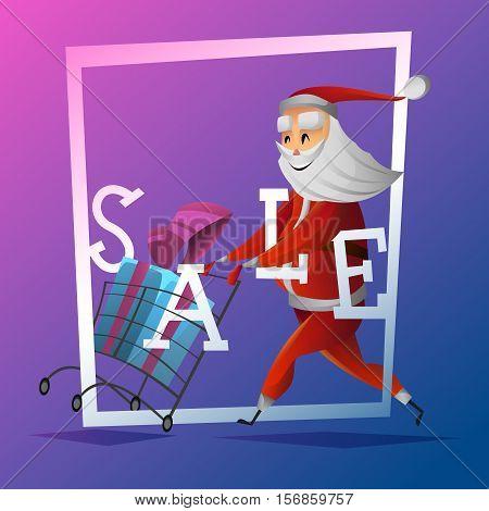 Consumer Santa Claus with  christmas and new year gift at shopping cart . Santa running at the shopping . Christmas sale concept . Sale banner or poser . Cartoon style vector illustration
