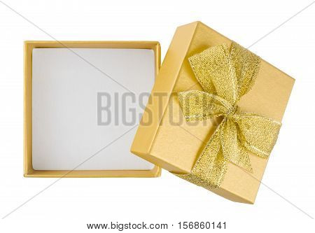 Top view of open gift box isolated on white background