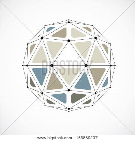 Abstract Vector Low Poly Object With Black Lines And Dots Connected. Colorful 3D Origami Futuristic