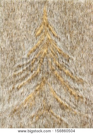 Winter background with Christmas tree for Christmas cards.Faux fur Christmas tree pattern