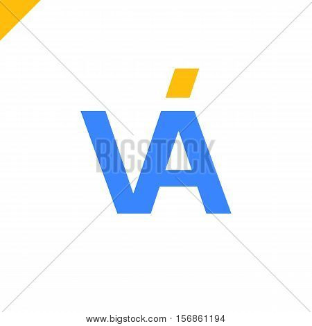 Va Company Linked Letter Logo Blue And Yellow