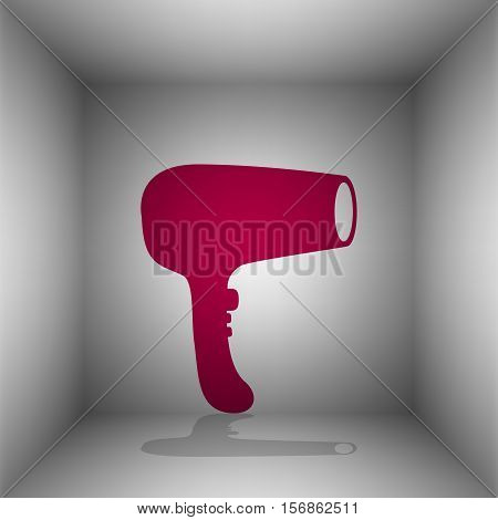 Hair Dryer Sign. Bordo Icon With Shadow In The Room.