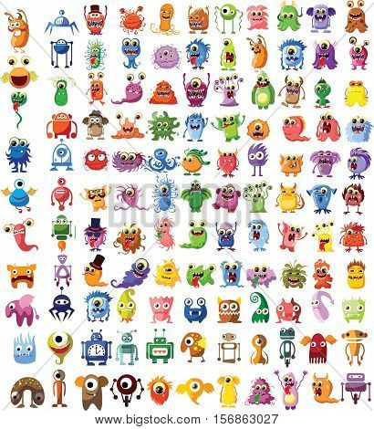 Large vector set of drawings of different characters isolated monsters, robots, germs, bacteria