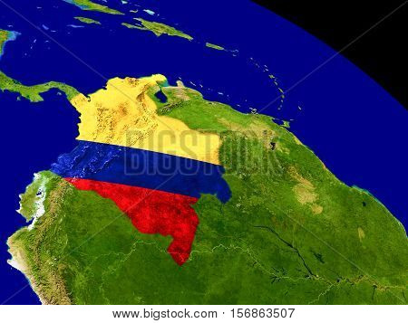 Colombia With Flag On Earth