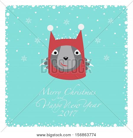 Greeting card. Grey cat in a knitted red hat with white pompons at the ears. From the bottom of the postcard the phrase merry christmas and happy new year and numbers: two, zero, one ,seven.