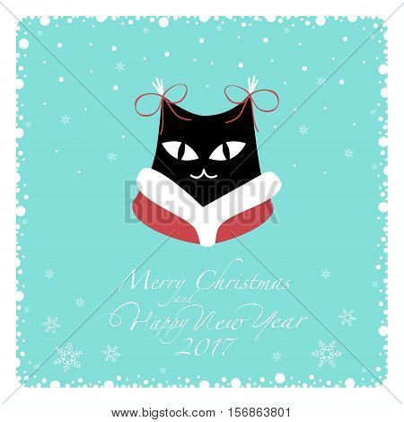 Greeting card. Black cat in red coat with white collar and red bows on the ears.From the bottom of the postcard the phrase merry christmas and happy new year and numbers: two, zero, one ,seven.