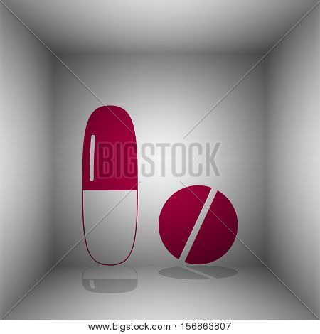 Medical Pills Sign. Bordo Icon With Shadow In The Room.