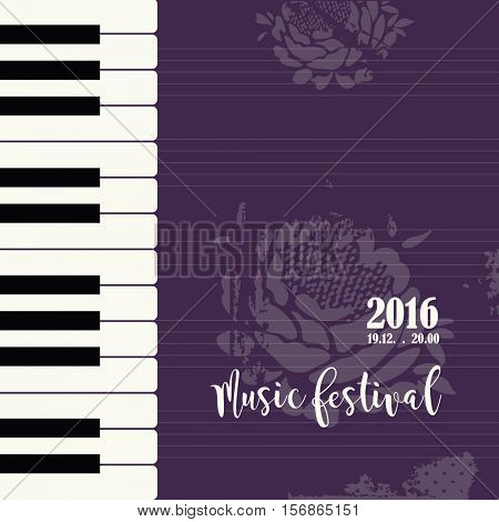 Music piano festival poster template. Background with piano keys. Piano keyboard. Abstract background vector illustration.
