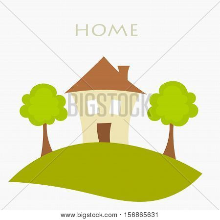 House on the hill and trees symbolic illustration