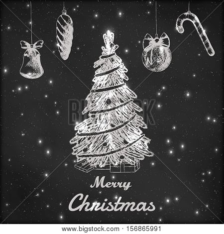 Christmas and New year hand drawn vector illustration. Xmas tree and ornaments sketch, vintage style. Grunge blackboard background with snow.