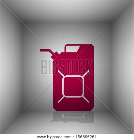 Jerrycan Oil Sign. Jerry Can Oil Sign. Bordo Icon With Shadow In The Room.