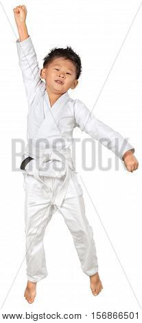 Portrait of a Young Asian Martial Artist Celebrating