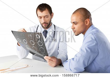 Portrait of a Doctor with Patient Showing a Radiograph