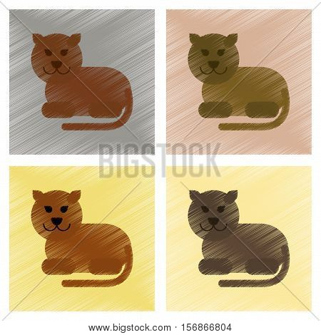 assembly flat shading style icons of cartoon panther
