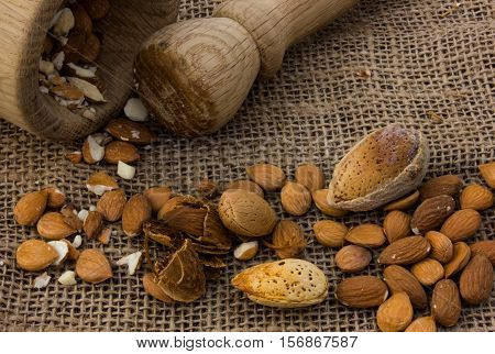crushed almonds in a mortar. apricot pits