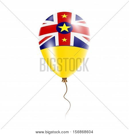 Niue Balloon With Flag. Bright Air Ballon In The Country National Colors. Country Flag Rubber Balloo