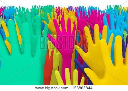multiple colorful crowd hands background  3d illustration