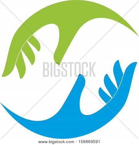Two hands in green and blue, wellness and massage logo