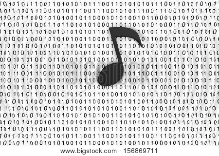 musical note on binary code background 3d illustration