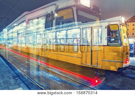 Old Tram At Central Stations in Budapest, Hungary.