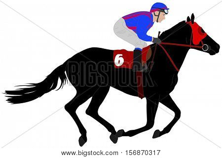jockey riding race horse illustration 3 - vector