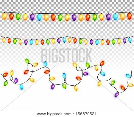 Christmas light bulbs garlands on transparent background vector