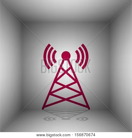 Antenna Sign Illustration. Bordo Icon With Shadow In The Room.
