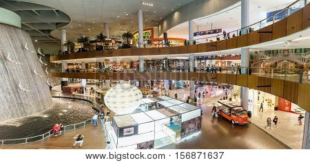 DUBAI - NOVEMBER 08 2016: The Dubai Mall linterior. The Dubai Mall located in Dubai it is part of the 20-billion-dollar Downtown Dubai complex and includes 1200 shops.