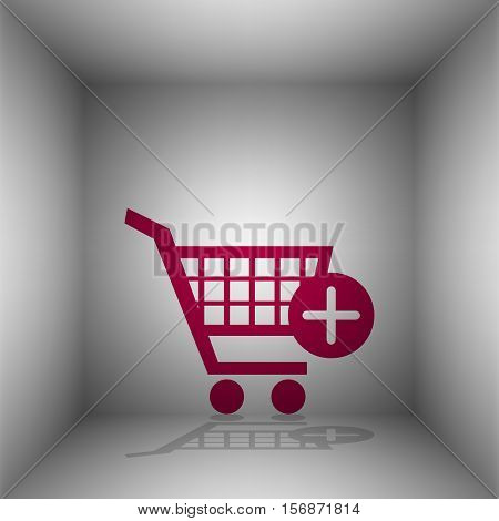 Shopping Cart With Add Mark Sign. Bordo Icon With Shadow In The Room.
