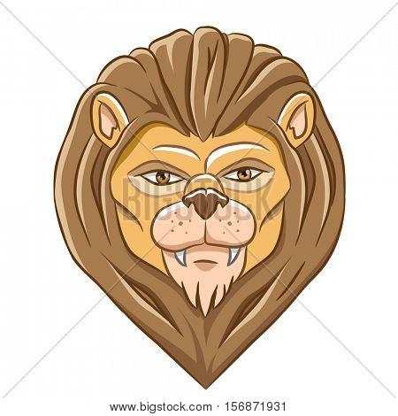 Vector Illustration of a Cartoon Lion Head isolated on a white background