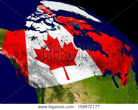 Canada With Flag On Earth