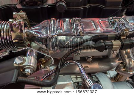 Closeup photography of modern new diesel truck engine