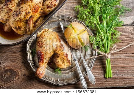 Jacket Potato With Dill And Roasted Chicken