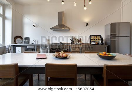 nice apartment refitted, kitchen view with appliances in style