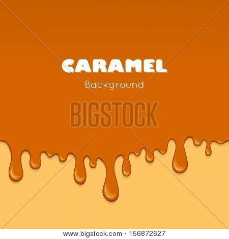 Illustration of caramel sweet drips and flowing. Splash drops and flow melted candy brown sugar syrup or honey. Abstract vector banner isolated on yellow background.