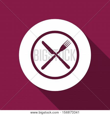 Restaurant icon. Crossed fork and knife flat icon with long shadow. Vector Illustration