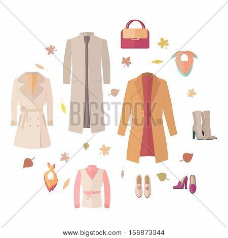 Big autumn sales vector concept. Flat design. Warm womens clothes, shoes and accessories for cold season on wite background with fallen leaves and sticker with text For store discounts ad design