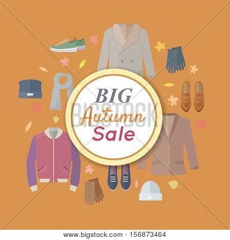 Big autumn sales vector concept. Flat design. Warm men s clothes, shoes and accessories for cold season on orange background with fallen leaves and sticker with text For store discounts ad design