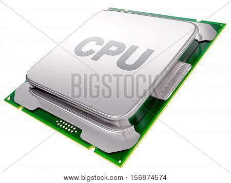 Central processing unit - CPU microchip isolated on white background. 3d render
