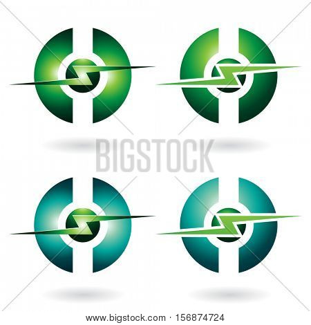 Vector Illustration of Thunder Sphere Abstract Icon isolated on a white background