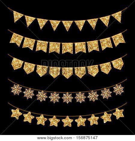 Holiday Garland Decoration Set Isolated on Black. Gold Glitter Texture. Vector illustration. Glowing New Year or Christmas Design Elements. Triangles Snowflakes and Stars on Rope