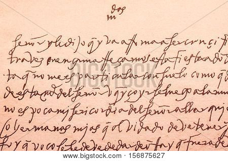 Alba de Tormes, Spain - April 5, 2008: Old letter written by Santa Teresa de Jesus a celebrated religious spanish writer woman in XVI century. Carmus museum