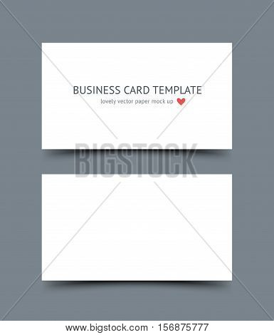 Business card template mock up with shadow isolated on dark background. Realestic vector paper cards for portfolio presentation, business identity