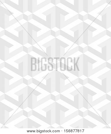 Neutral Isometric Seamless Pattern. 3D Optical Illusion White Background Texture. Editable Vector EPS10 Illustration.