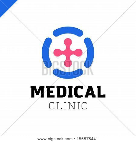 Circle Medical Line Logo. Med Cross In Circle.