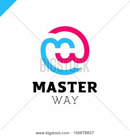 Bank Or Finance Organization Letter M Or W Logo Template. Marketing Rate Simple Circle Logotype
