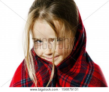 Cute little girl dressing by red comfort scarf isolated on white background