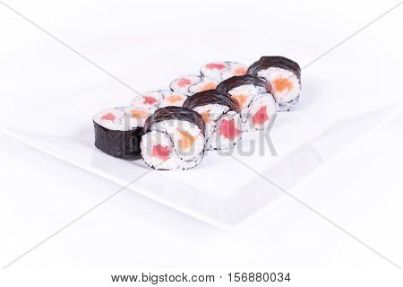 Sushi plate on white background. Japanese food.